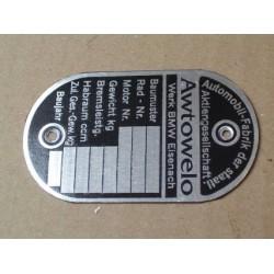 """ID plate, EMW R35 """"Awtowelo"""""""