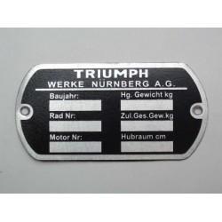 """Typenschild """" TRIUMPH""""..."""