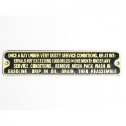 ID plate, not exceeding...