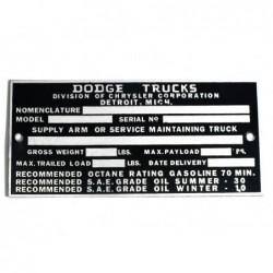ID plate, Dodge Trucks, 101...