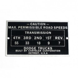 ID plate, max  road speeds