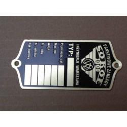 Sokol 1000 ID plate