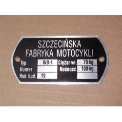 Junak sidecar ID plate